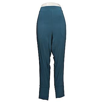 MarlaWynne Women's Plus Pants Matte Jersey Slouched w/ Pockets Blue 664944