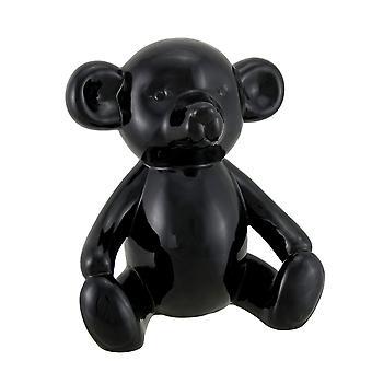 Glänzend schwarze Keramik Teddybär Statue 6 Zoll