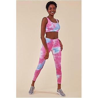 Cosmochic Tie-dye Crop Top With Leggings Set - Pinkblue
