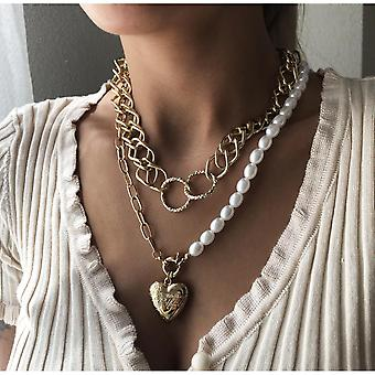 Pendant Jewelry Pearl Necklace Heart-shaped Texture Multilayer Chain