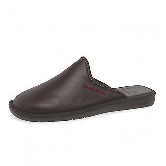Nordikas 131 Dublin Men's Luxury Leather Slippers In Burgundy