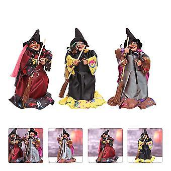 1 הגדר 3pcs בובות מכשפה מפחיד קישוטי מסיבת (צבע מגוון)