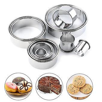 Baking cookie sheets 12pcs/set stainless steel cake ring mousse ring cake mold fondant toast biscuit mold baking tools