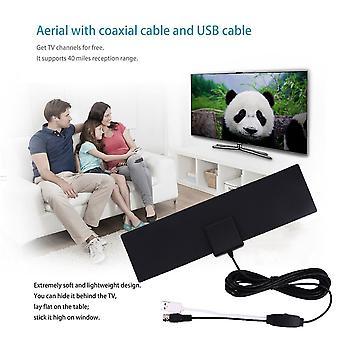 40 Meilen Hd Digital Verstärkte TV-Antenne mit 3 Meter Verbindungsleitung Indoor