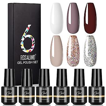6pcs Base Top Coat Profession Nail Gel Kit Polish Glitter Vernis Semi Permanent Uv Led Nail Art Set Slatc6-05-01