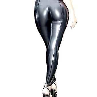 Women's Stretchy Faux Leather Leggings Pants, Sexy Black High Waisted Tights