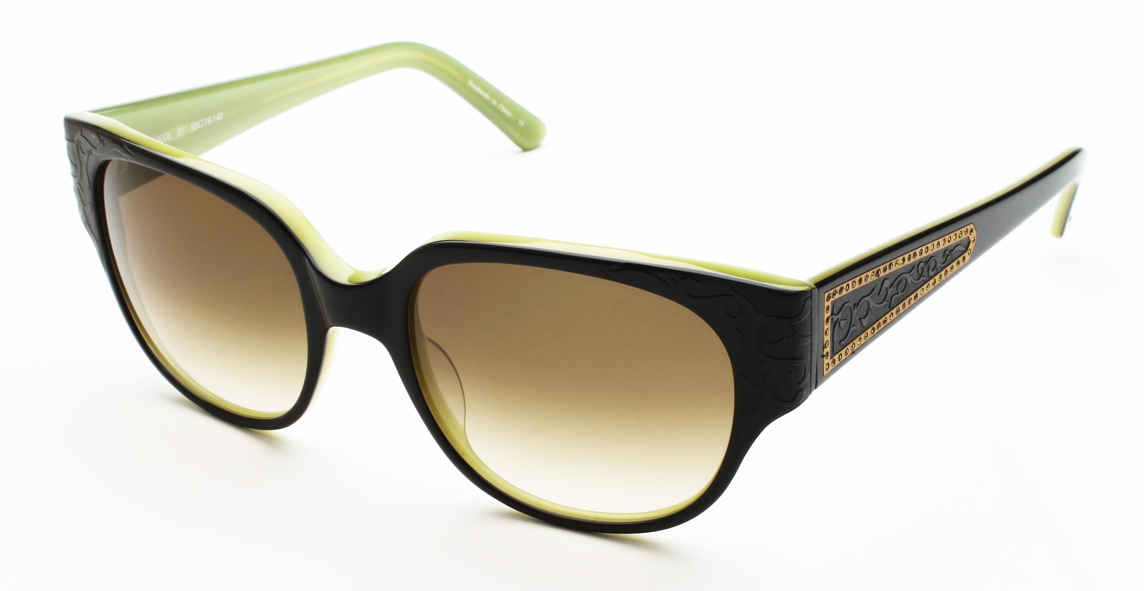 Judith Leiber Women's Floral Motif Sunglasses Onyx/Olive