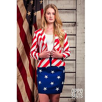 Dames de Miss USA America costume Opposuit Slimline 2 prime UE tailles
