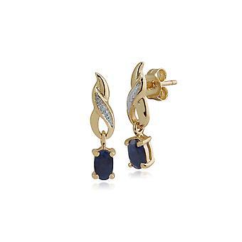 Art Nouveau Soikea Sapphire & Diamond Drop korvakorut 9ct Keltainen Kulta 8727