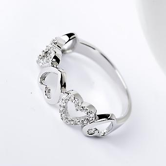 Affici Sterling Silver Semi Eternity Ring 18ct White Gold Plated ~ Hearts of Diamond CZ Gems