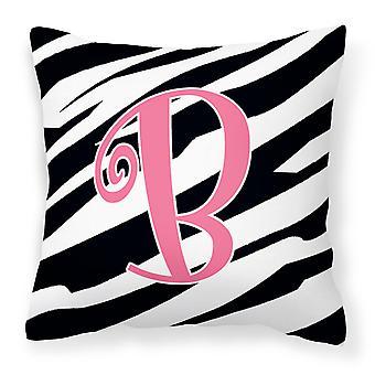 Monogram Initial B Zebra Stripe and Pink Decorative Canvas Fabric Pillow CJ1037