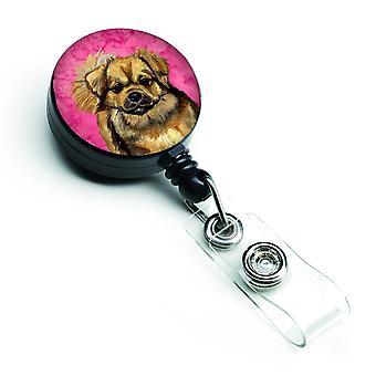 Carolines Treasures  LH9394PKBR Pink Tibetan Spaniel Retractable Badge Reel