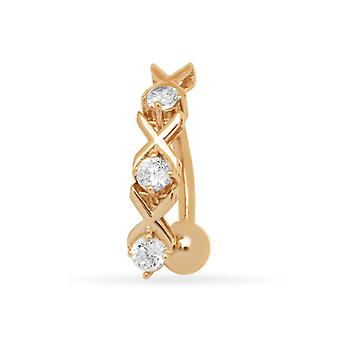 14k Yellow Gold CZ Cubic Zirconia Simulated Diamond 14 Gauge Xox Body Jewelry Belly Ring Measures 20x5mm Jewelry Gifts f