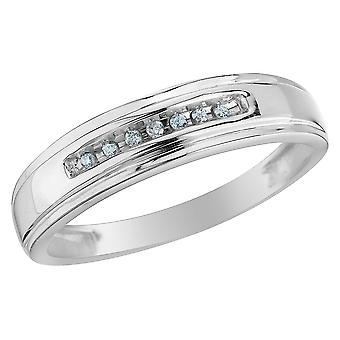 Mens Diamond Wedding Band 1/12 Carat (ctw) in 10K White Gold