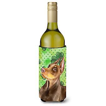 Doberman Pinscher St Patrick's Wine Bottle Beverge Insulator Hugger