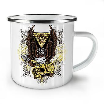 Triangle Eagle Skull NEW WhiteTea Coffee Enamel Mug10 oz | Wellcoda
