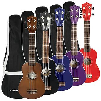 Rocket Soprano Ukulele With Bag - Available in Black, Purple, Blue, Red, or Natural Finish