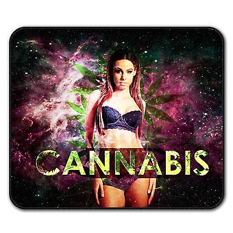Girl Space Cannabis  Non-Slip Mouse Mat Pad 24cm x 20cm | Wellcoda