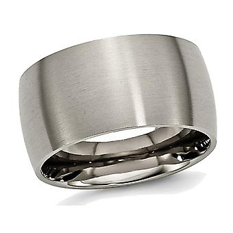 Mens Chisel Titanium 12mm Brushed Wedding Band