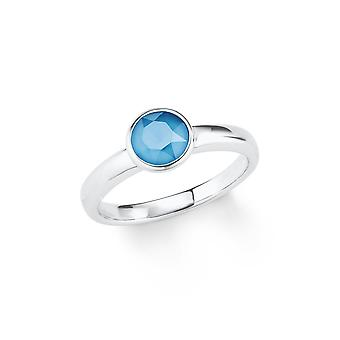 s.Oliver jewel ladies ring silver crystal blue 202092
