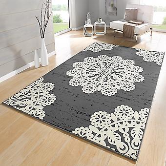 Crema de encaje gris alfombra velour diseño | 102421