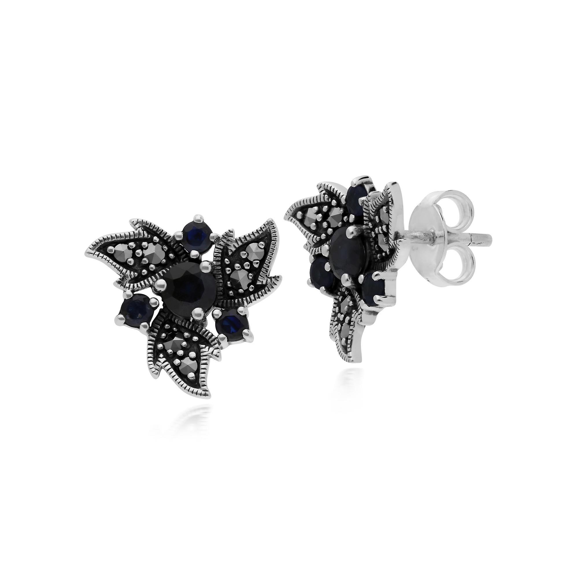 Gemondo Sterling Silver Sapphire & Marcasite Nouveau Floral Earrings