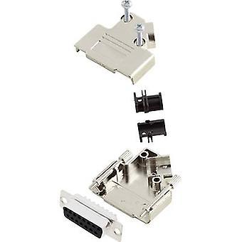 encitech D45PK-M-15-DBS-K 6355-0009-12 D-SUB receptacle set 45 ° Number of pins: 15 Solder bucket 1 Set