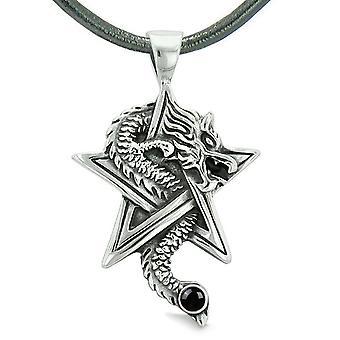 Mod dragen magiske kræfter stjerne femtakkede Amulet sort simuleret Onyx vedhæng læder halskæde