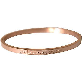 Gemshine Damen Armband Armreif Smile Love Dream WISHES Rose Gold 4 mm