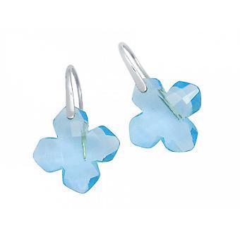 Occhini con pietra dure orecchini orecchino - 925 argento - topazio azzurro - blu - 2,5 cm