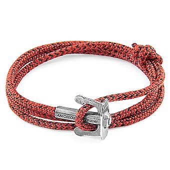 Anchor & Crew Red Noir Union Anchor Silver and Rope Bracelet