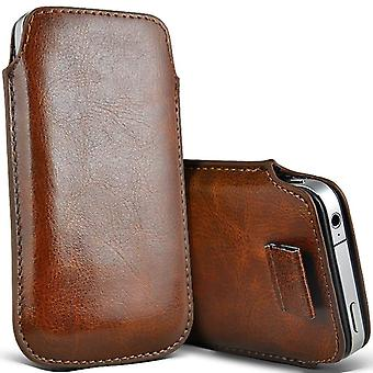 (Brown) Pull Tab Sleeve Faux Leather Pouch Case Cover For ZTE Prelude 4G [ XXL ]