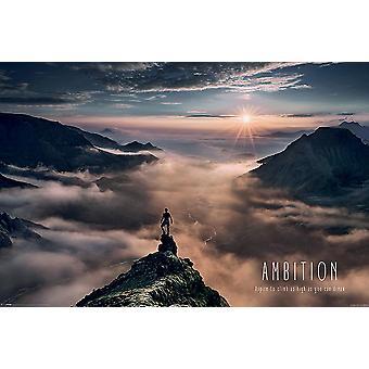 Ambitie berg poster willen klimmen zo hoog als je 61 x 91,5 cm dromen kunt