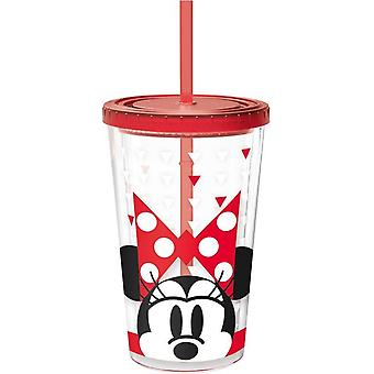 Disney Minnie Glass for drinks with a straw