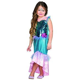 Havfrue reversible paillet havfrue kostume børn Carnival piger Carnival eventyr