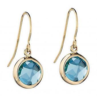 Elements Gold Topaz Bezel Set Drop Earrings - Blue/Gold