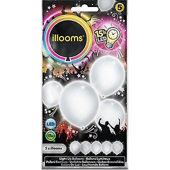 Hvide balloner med LED lys Illooms 5 stk