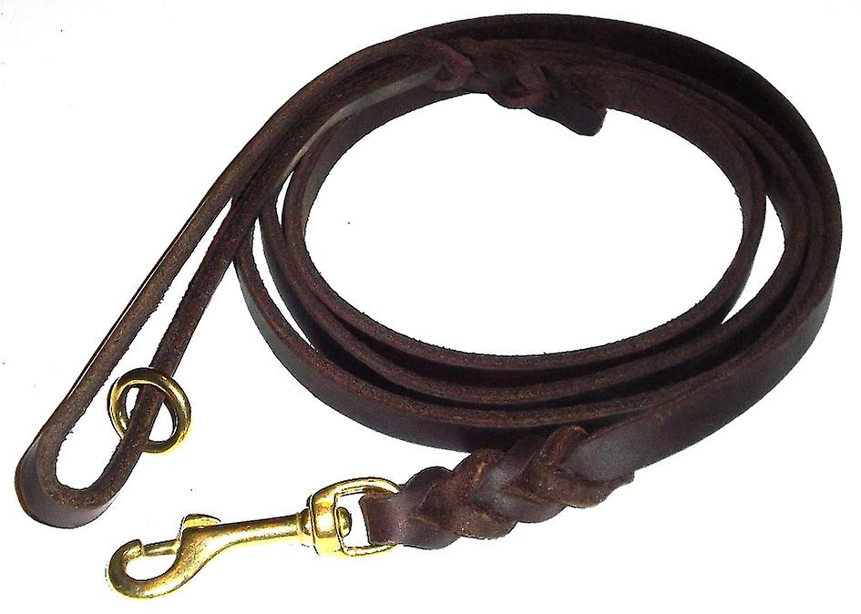 K9-Sport leather leash with brass hook