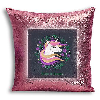 i-Tronixs - Unicorn Printed Design Rose Gold Sequin Cushion / Pillow Cover with Inserted Pillow for Home Decor - 10