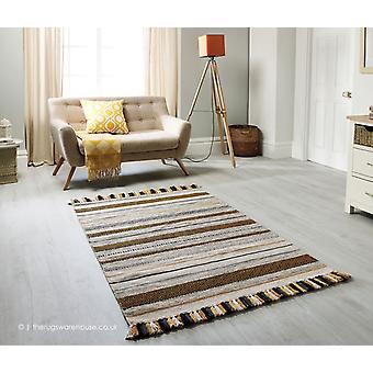 Kelim striber okker tæppe