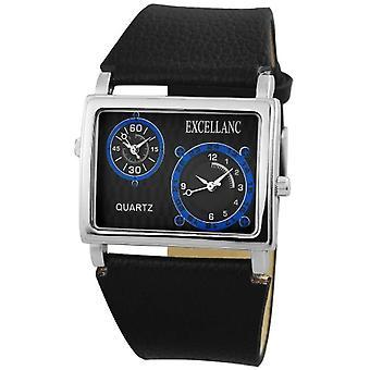 Relógio de pulso Excellanc 225721100014-masculino, cor de couro falso: preto