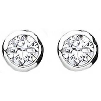Bella 5mm Cubic Zirconia Rubover Stud Earring - Silver/White