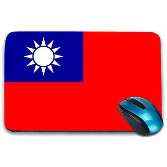 i-Tronixs - Taiwan Flag Printed Design Non-Slip Rectangular Mouse Mat for Office / Home / Gaming - 0172