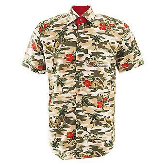 كلاوديو Lugli الاستوائية زهرة طباعة الكتان الكتان قصيرة الأكمام الرجال و#039 & s قميص