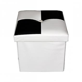 Meubilair Rebecca Puff moderne gewatteerde witte zwarte container 30x30x30