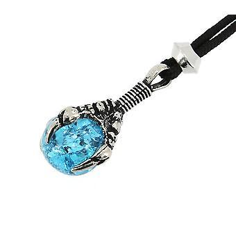 Fatto a mano drago artiglio aquila artigli vetro incrinato azzurro sfera peltro pendente