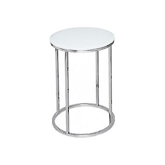 Gillmore White Glass And Silver Metal Contemporary Circular Side Table
