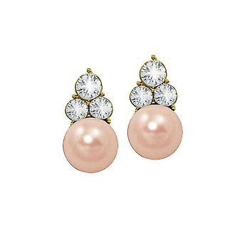 Eeuwige collectie handtekening roze glas Pearl en kristal Gouden Toon Stud doorstoken oorbellen