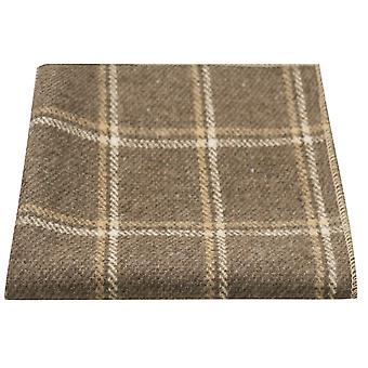 Heritage Pecan Brown Check Pocket Square, Handkerchief