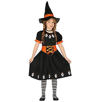 Filles Skeleton Witch Halloween Fancy Dress Costume